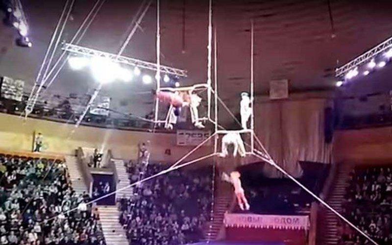 Падение воздушной гимнастки в гомельском цирке сняли на видео