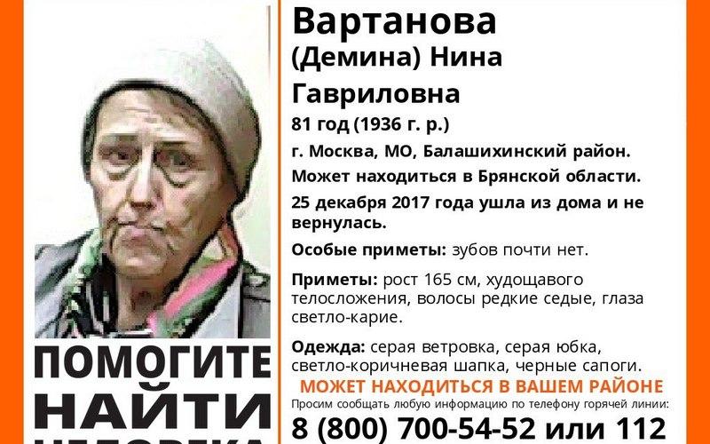 В Брянске разыскивают 81-летнюю москвичку Нину Вартанову