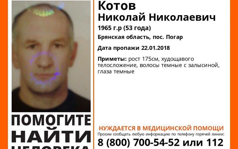 В Брянской области пропал 53-летний Николай Котов