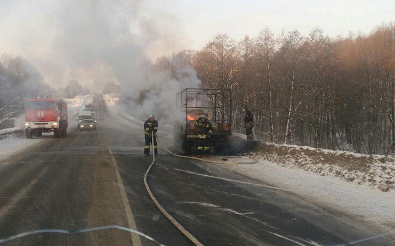 ВСети появилось видео горящей «газели» под Брянском