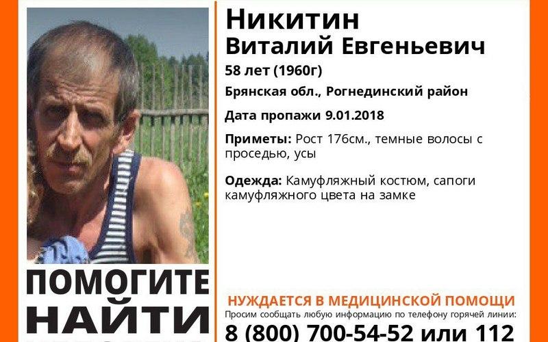 Пропавшего вянваре под Рогнедино Виталия Никитина нашли мертвым