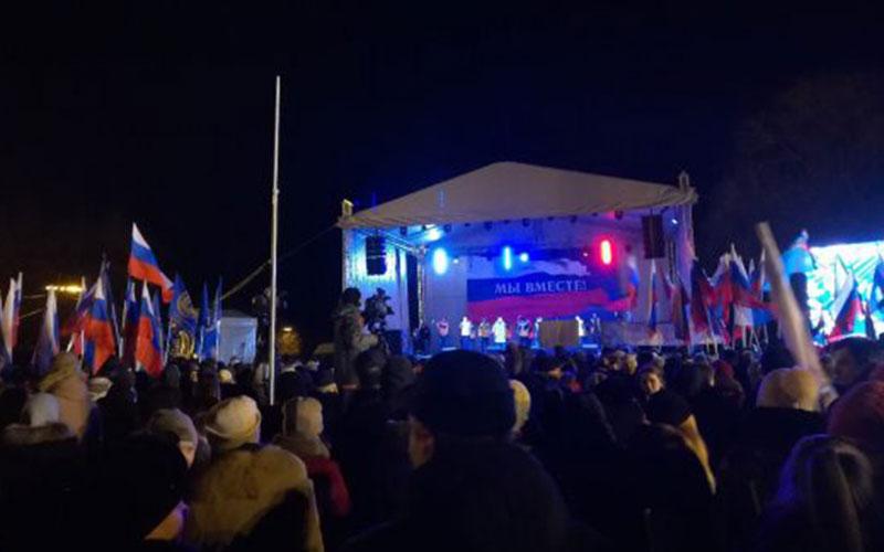 Тысячи брянцев встречают «Крымскую весну» в20-градусный мороз