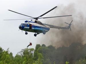 МИ-8 из Красноярского края тушил пожары в Челябинской области
