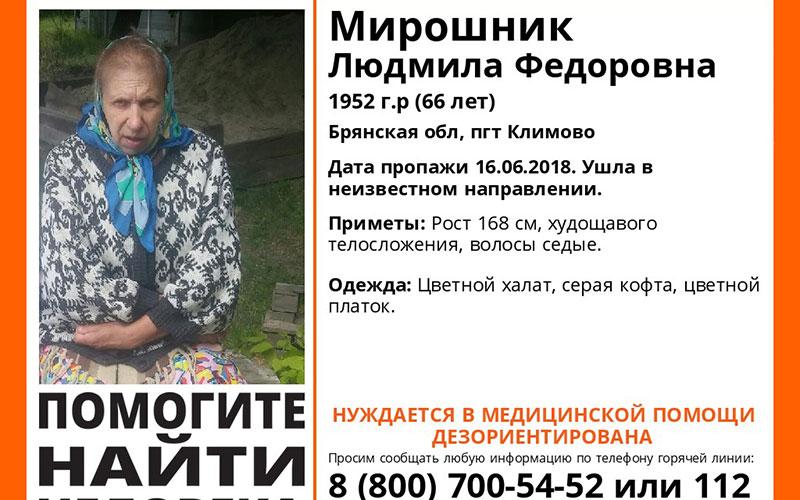 Впоселке Климово пропала пенсионерка
