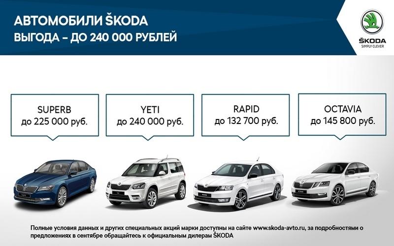 В сентябре Крона-Авто, официальный дилер ŠKODA подготовил специальные предложения для клиентов!