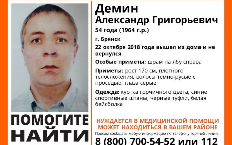 Пропавший в Брянске Александр Демин найден мертвым