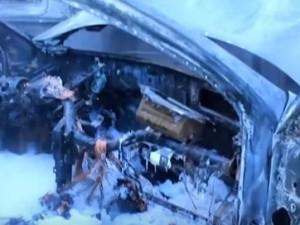 Снегоуборочная машина сгорела в ДТП