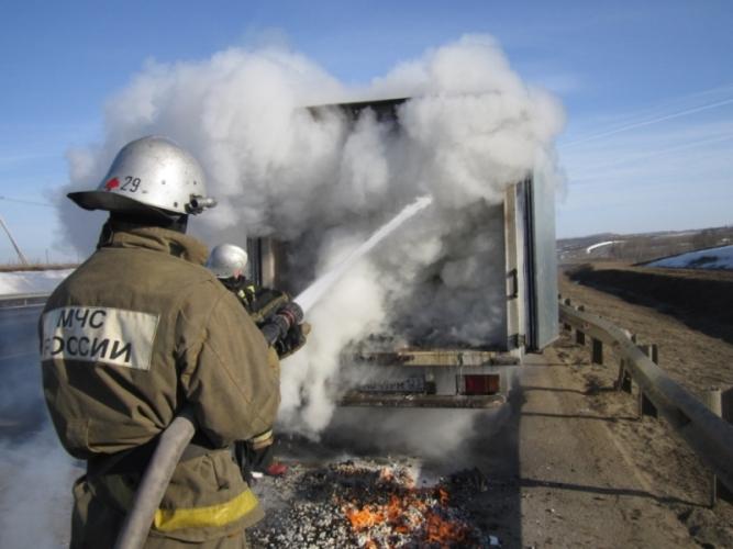 Под Брянском сгорел грузовой автомобиль