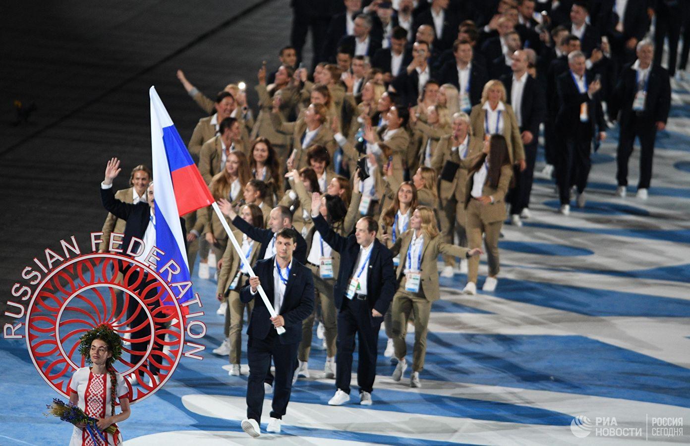Российский флаг наоткрытии Европейских игр вМинске вынес Артем Осипенко