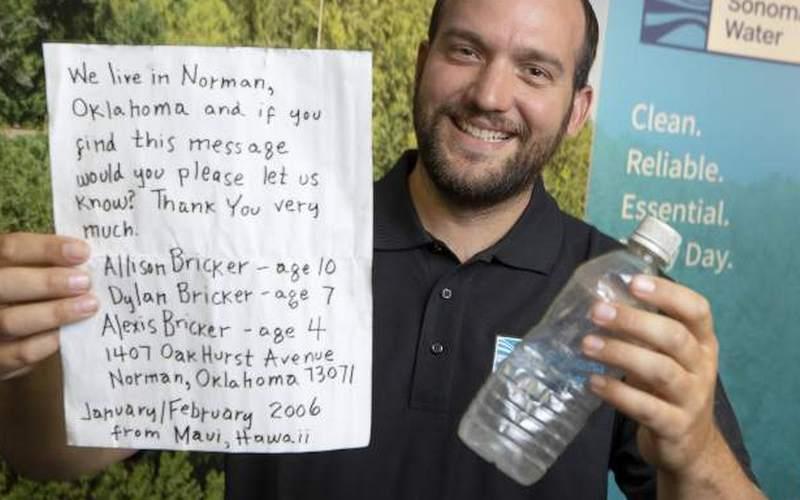 Брошенную в океан бутылку с письмом нашли через 13 лет