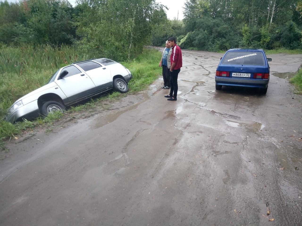 Около брянского озера машина слетела в кювет