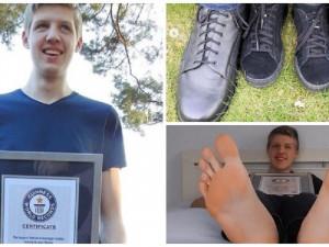 57 размер ноги у 16-летнего парня привел его к Рекорду Гиннесса