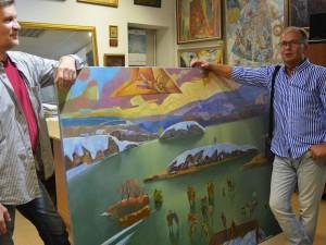 Летящий человек над плавающим островом – необычная картина про Озерск создана челябинским художником