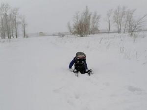 Первоклассник в Омской области ползает в школу по сугробам, а его брат в детсад